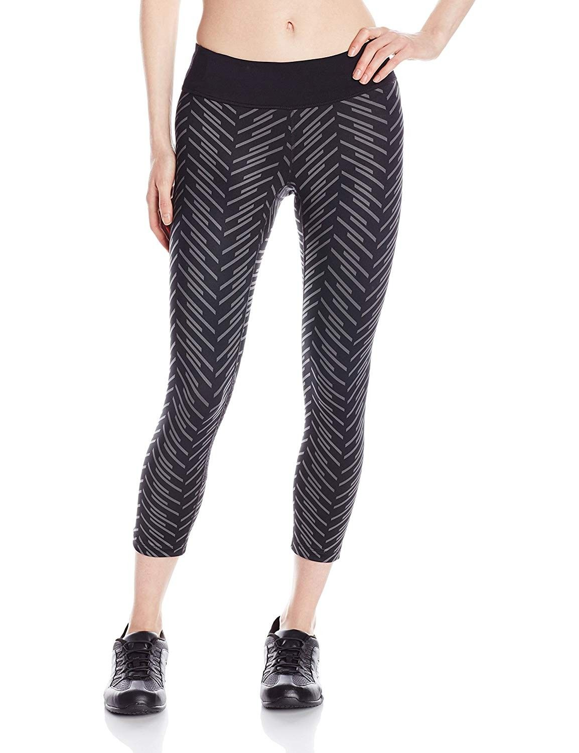 Women's Flash 3 Qtr Tight Print Pants - Black/Black Print - C811MP558ON - Sports & Fitness Clothing,...