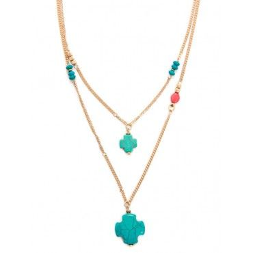 Double Layer Stone Cross Necklace   Necklaces   Jewelry - Bijuju --Wouldn't use the turquoise crosses--like two of the same charms of different size  --like the symmetrical stations on different necklace chains along with asymmetrical station(s)