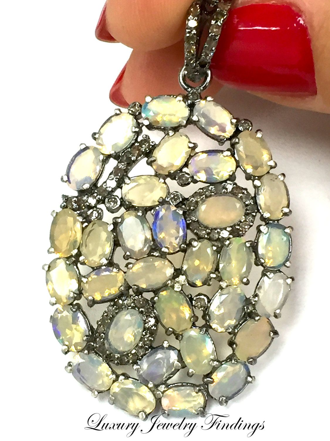 Opal and Diamond Pendant, Gift Ideas for Women,  Opal Pendant Necklace, Pendant Jewelry in Craft Supplies, Pendant Charms, Luxury Jewelry by LuxuryJewelryFinding on Etsy