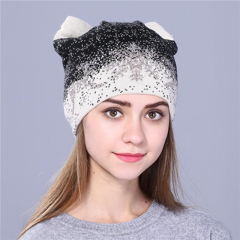 1aa2c984be3 Xthree cute kitty winter hat for women Rabbit fur wool knitted hat beanies  hat feminino hat