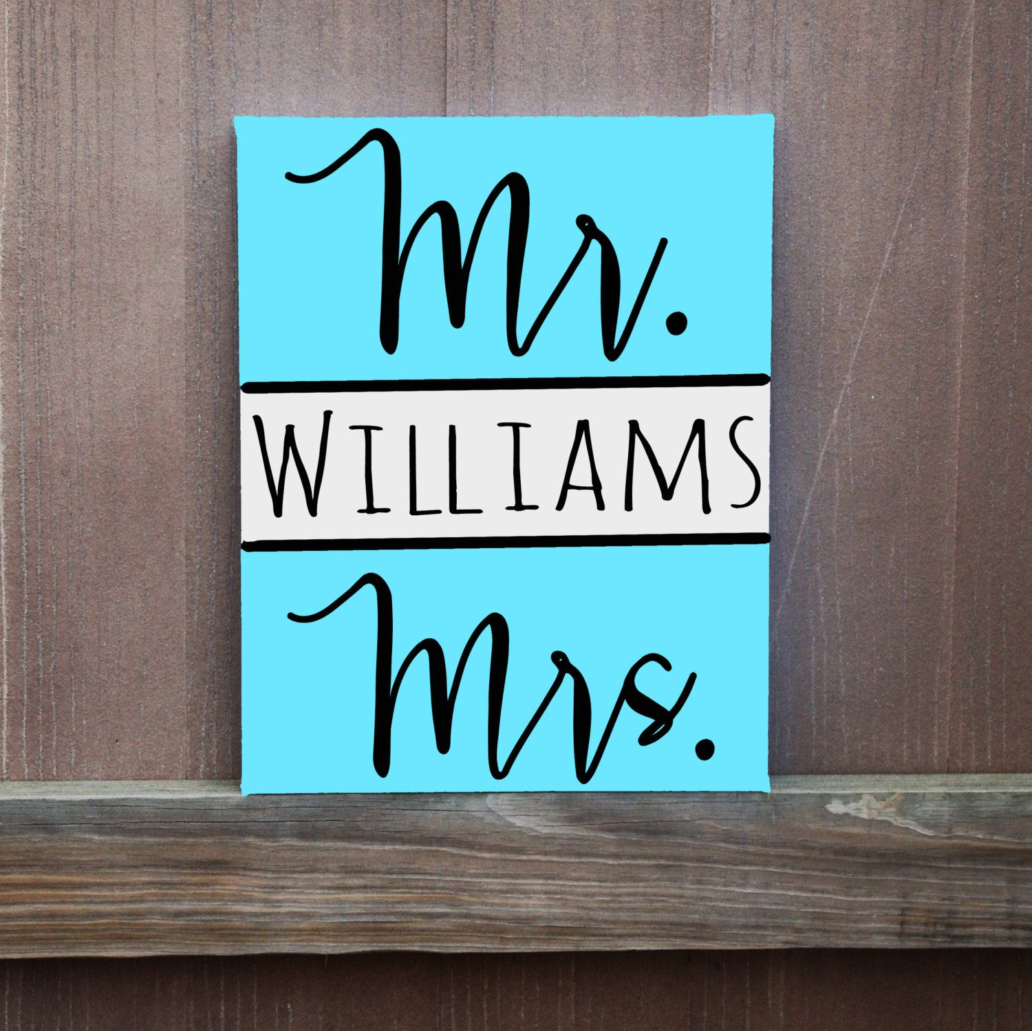 Mr Mrs Custom Last Name Canvas Hand Painted 12x12 11x14 16x20 Ready To Hang Wall Art Wall Decor Wedding Gif Canvas Painting Diy Diy Canvas Name Canvas