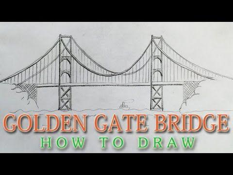 How To Draw The Golden Gate Bridge San Francisco Landmark