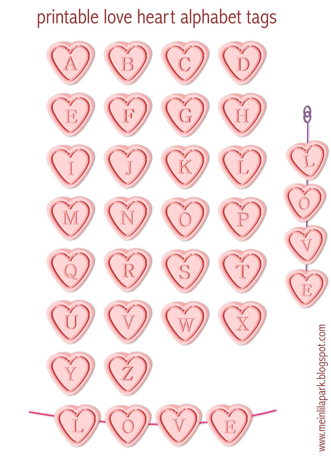 meinlilapark diy printables and downloads free printable alphabet letter tags love hearts ausdruckbare buchstaben freebie