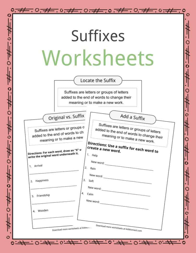 Suffixes Worksheets Examples Definition Suffixes Worksheets 2nd Grade Worksheets Prefixes