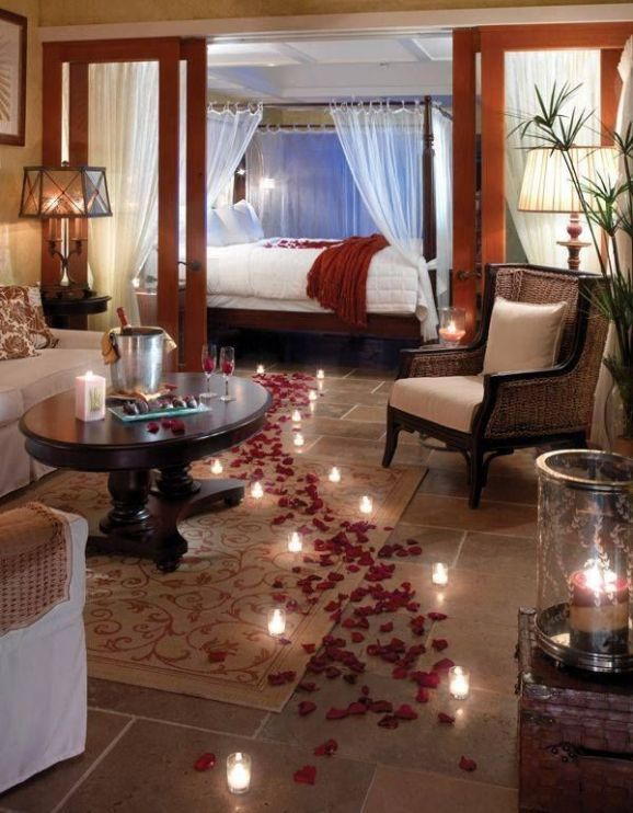 Romantic Red Bedroom Ideas: Sweet And Romantic Bedroom Design With Flowers And Red