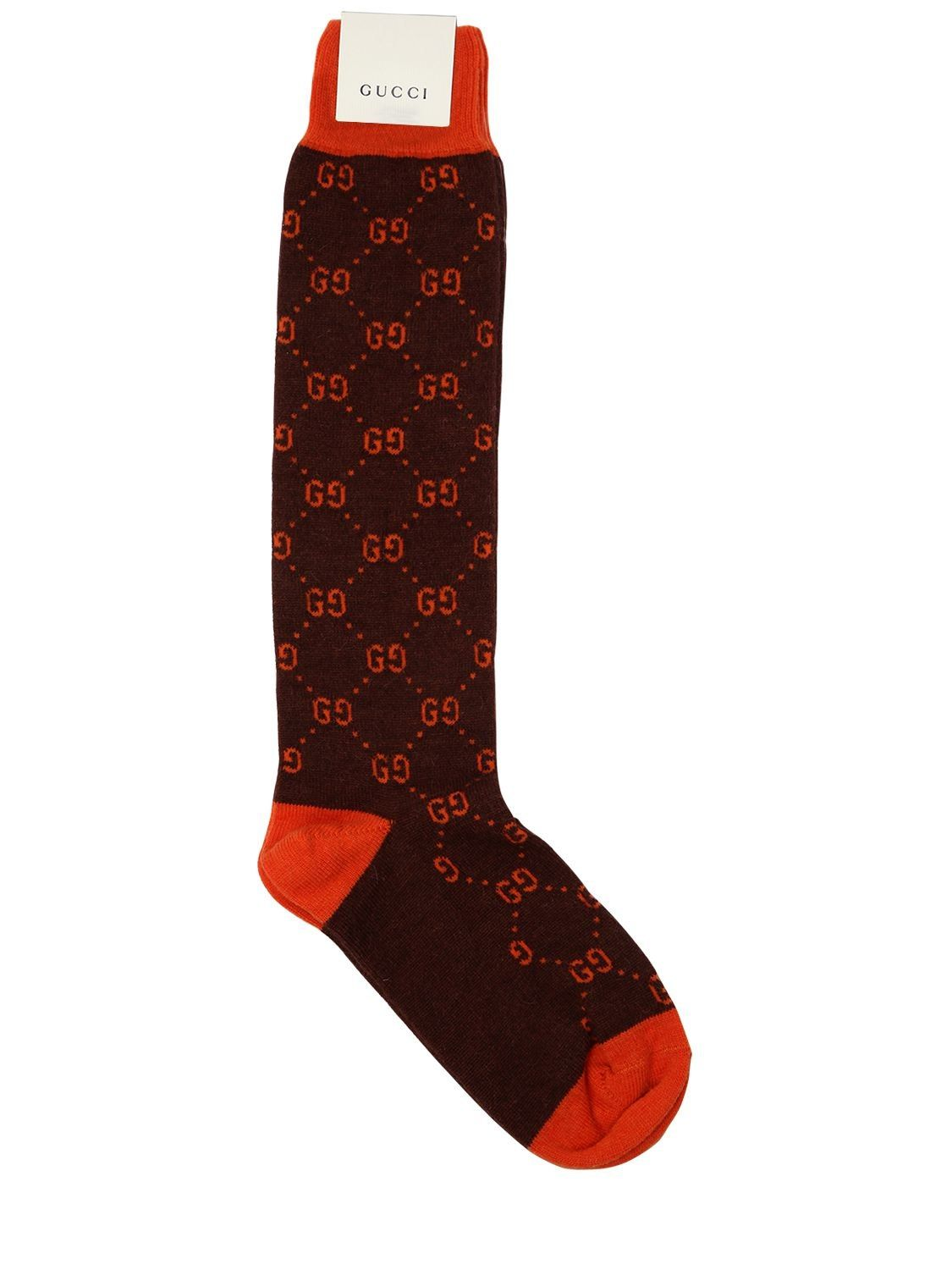 5a4aba9cf6940 Gucci Gg Supreme Wool Blend Knit Socks In Brown/Orange | Soxxx in ...