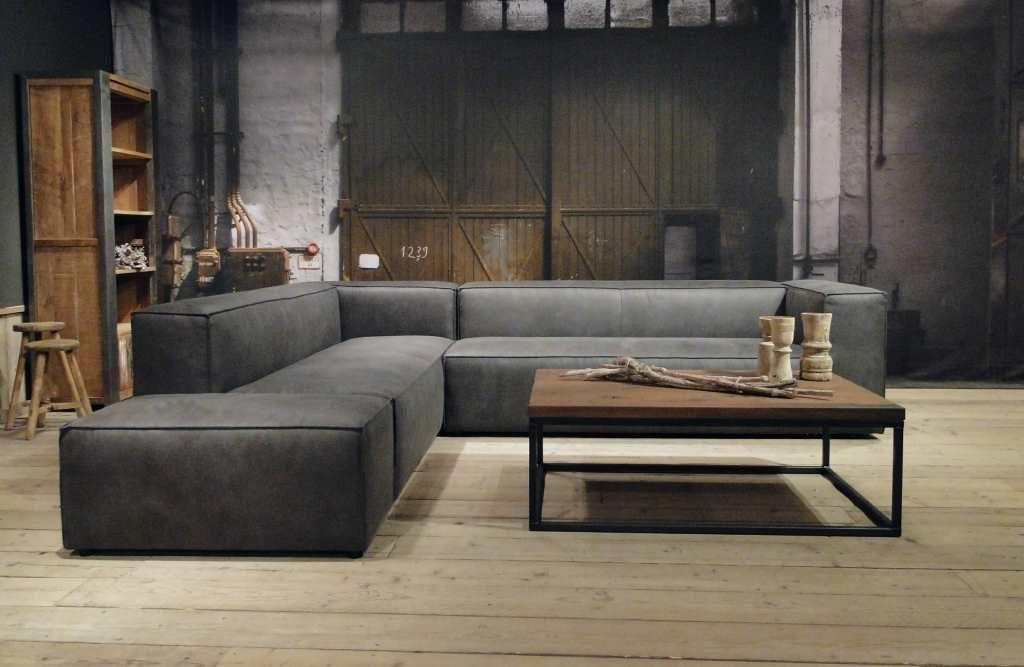 Grijze hoekbank met chaise longue rigolato in couch