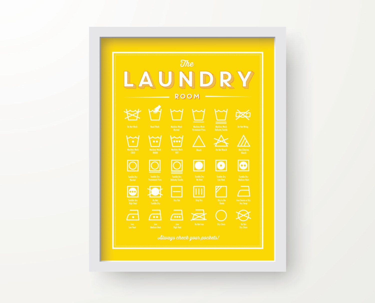 Laundry Room decor, YELLOW color, laundry wall decor, laundry guide ...