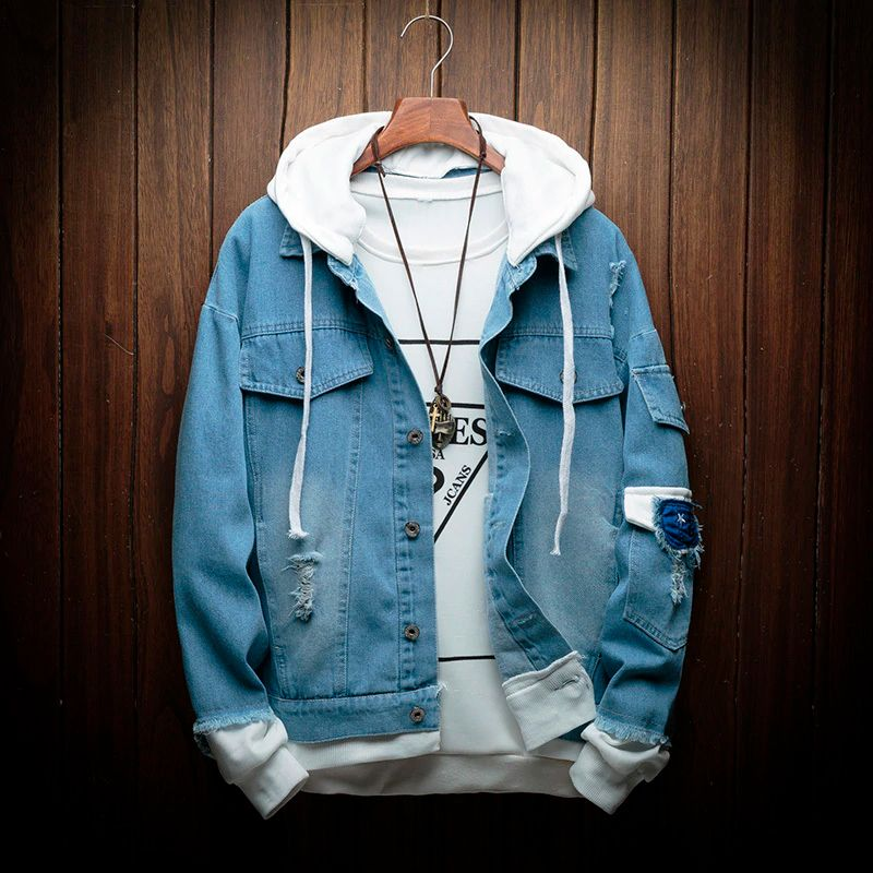 New Collection Of Autumn Clothes Denim Jacket With A Hood For Men Jackets Men Fashion Hooded Denim Jacket Denim Jacket Men