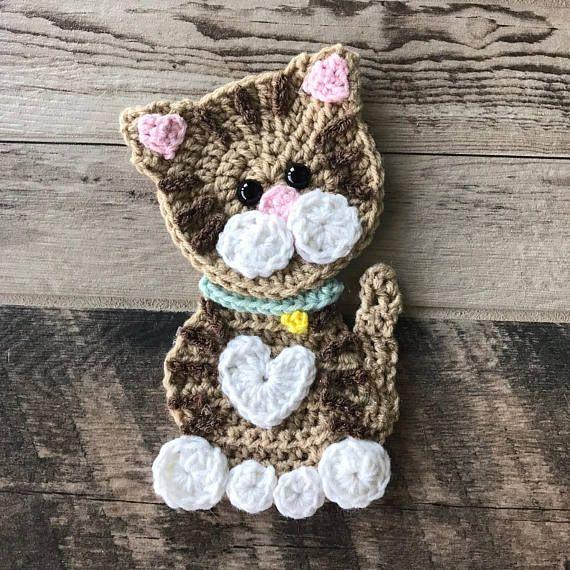 Crochet Pattern - INSTANT PDF DOWNLOAD - Pattern - Applique - Kitty - Cat - Crocheted - Handmade - Purr- Cute - Kitten - Kitty Cat #afghanpatterns