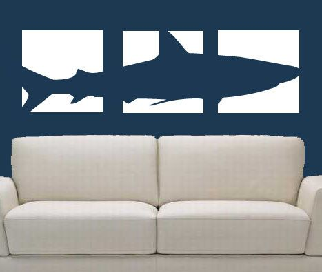 Shark Wall Art shark panel vinyl wall decal vinyl art 3mommyoftydesigns