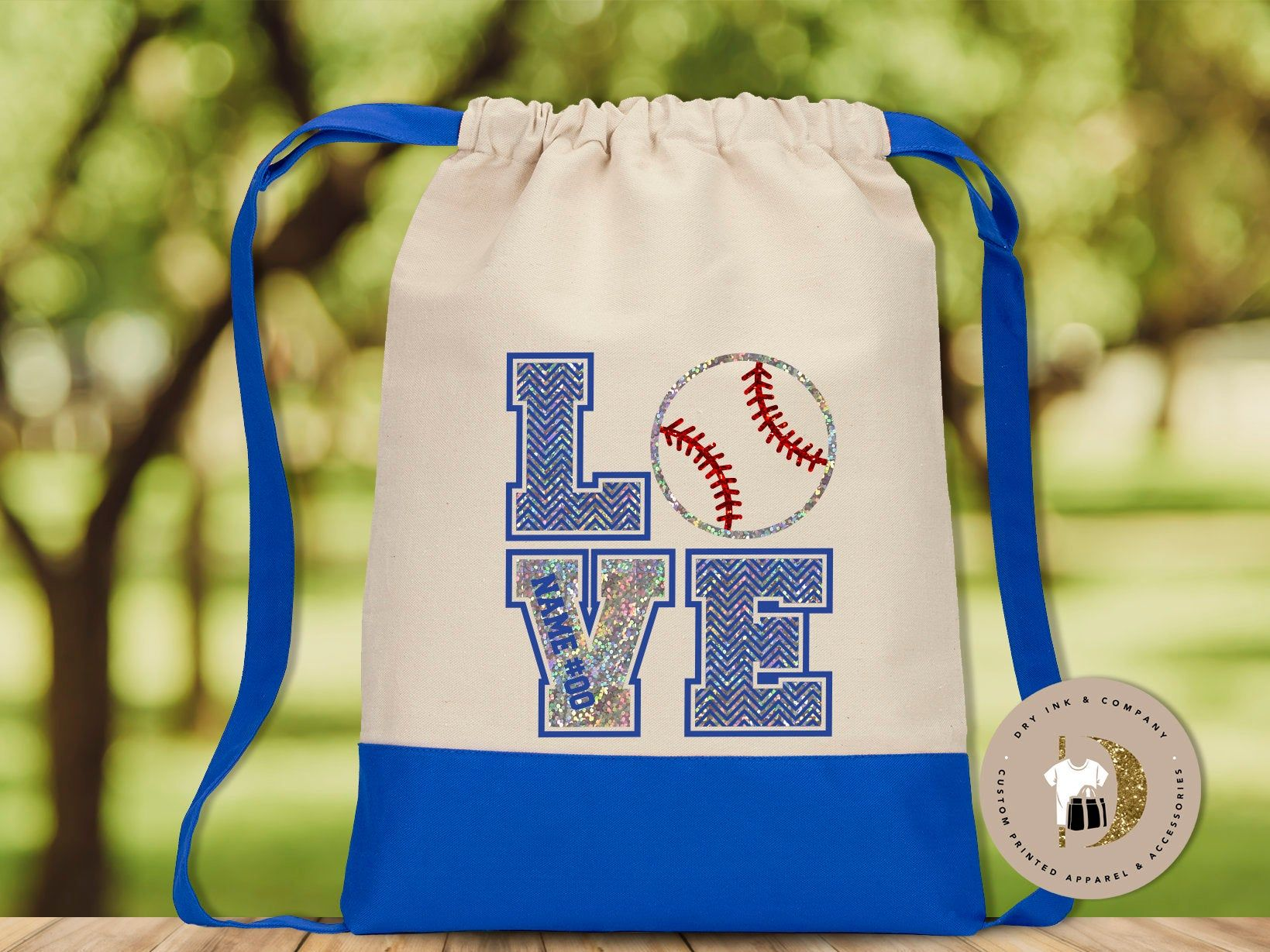 Personalized Glitter Bag With Love Baseball Design With Number Etsy In 2020 Navy Bag Bags Personalized Clothes