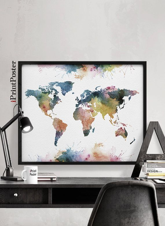 World map poster, Watercolor World map, Art Print, Art