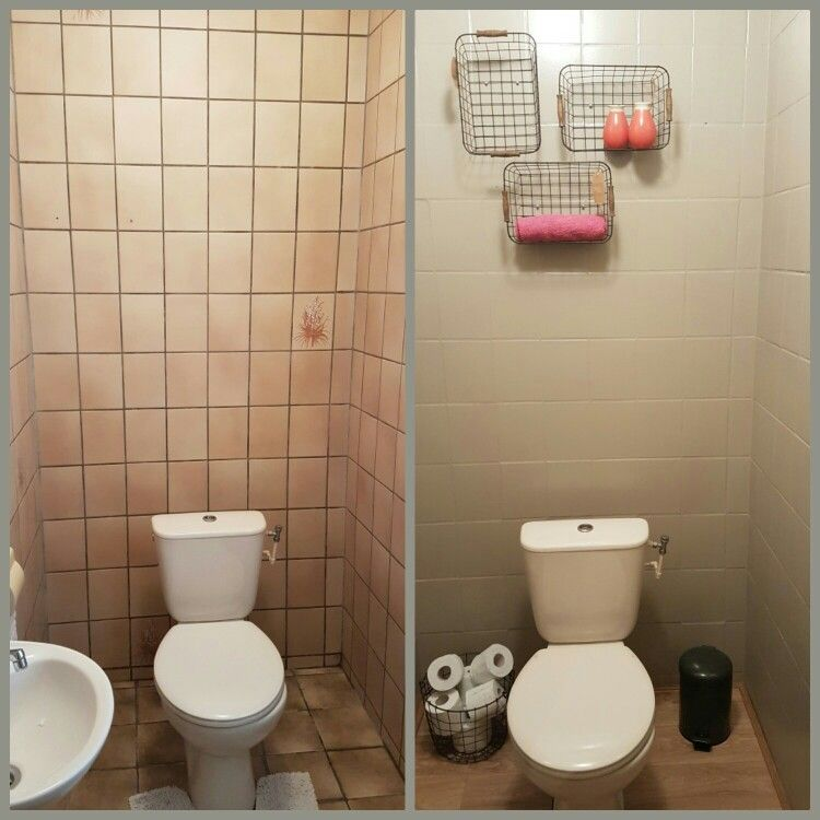 Diy wc make over budget tegels geverfd met action verf vinyl op de vloer decoratie van for Decoratie wc