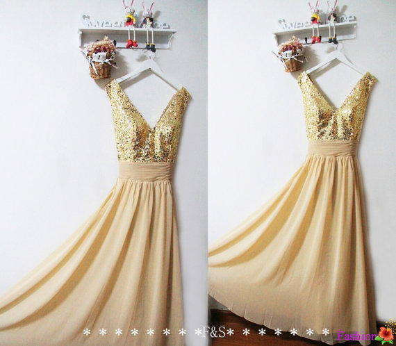 Gold Sequin Bridesmaid Dress Sparkly Evening Prom Dress Long Gold ...