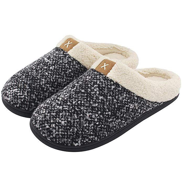 Men's Comfort Memory Foam Slippers Wool-Like Plush Fleece