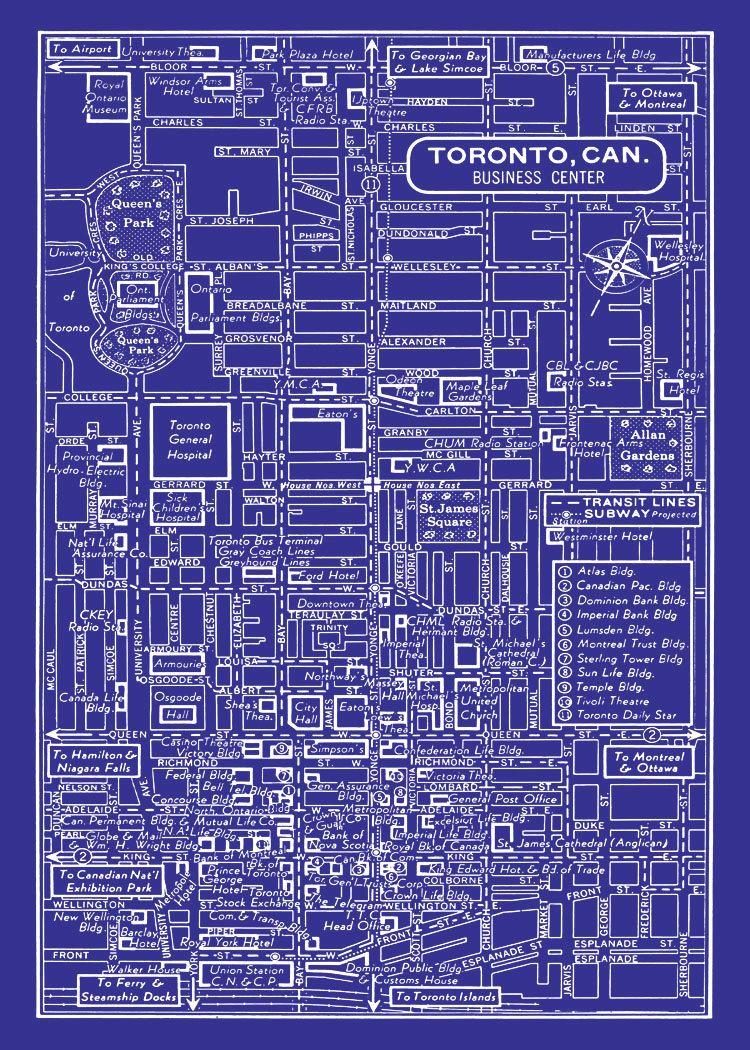1949 vintage map of downtown toronto canada 11x17 blueprint print 1949 vintage map of downtown toronto canada 11x17 blueprint print poster 1495 via etsy malvernweather Images