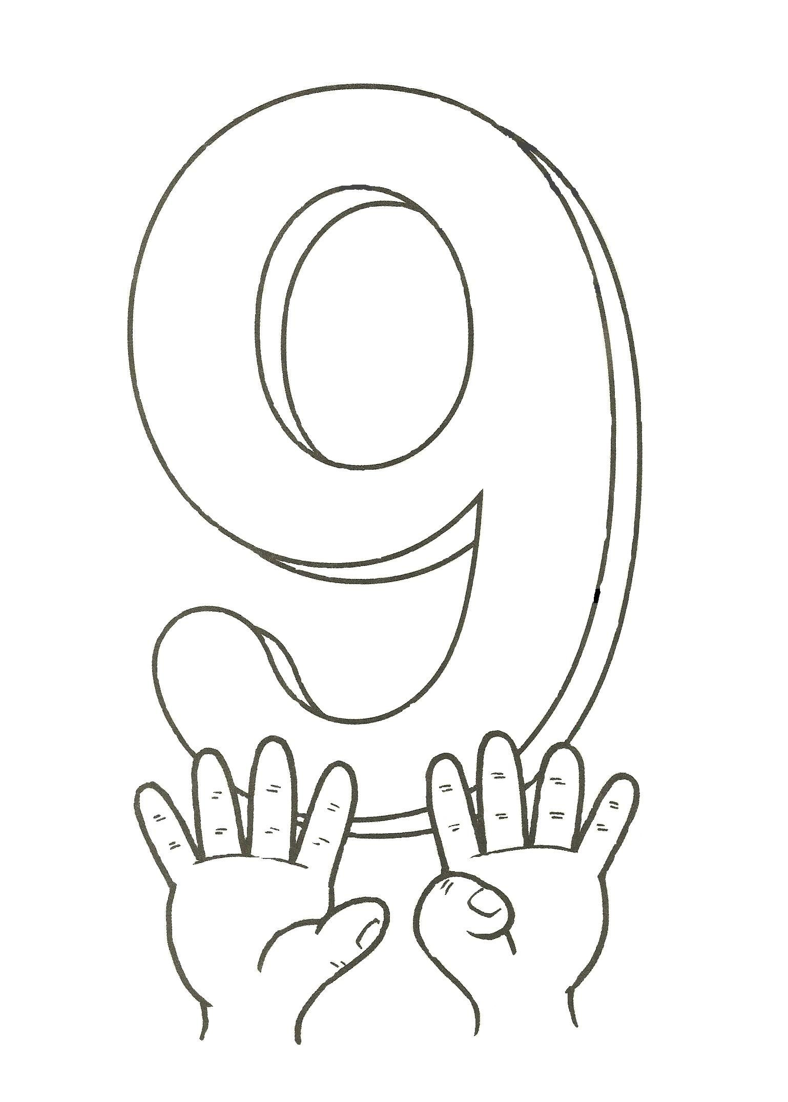 9 Sign Coloring Page