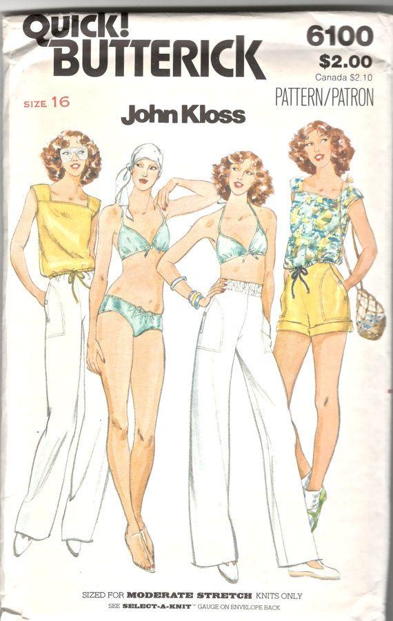 Butterick 6100 1970s Misses Halter Bikini Pull on Pants Shorts T ...
