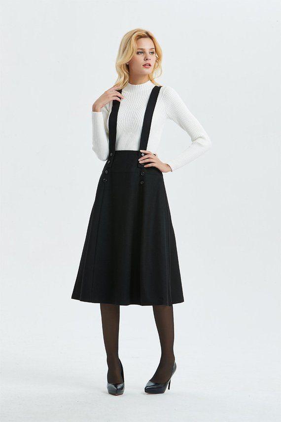 1f0ec98d73cf Suspender skirt, black wool skirt, skirt with adjustable straps, midi  length skirt, buttons skirt, w