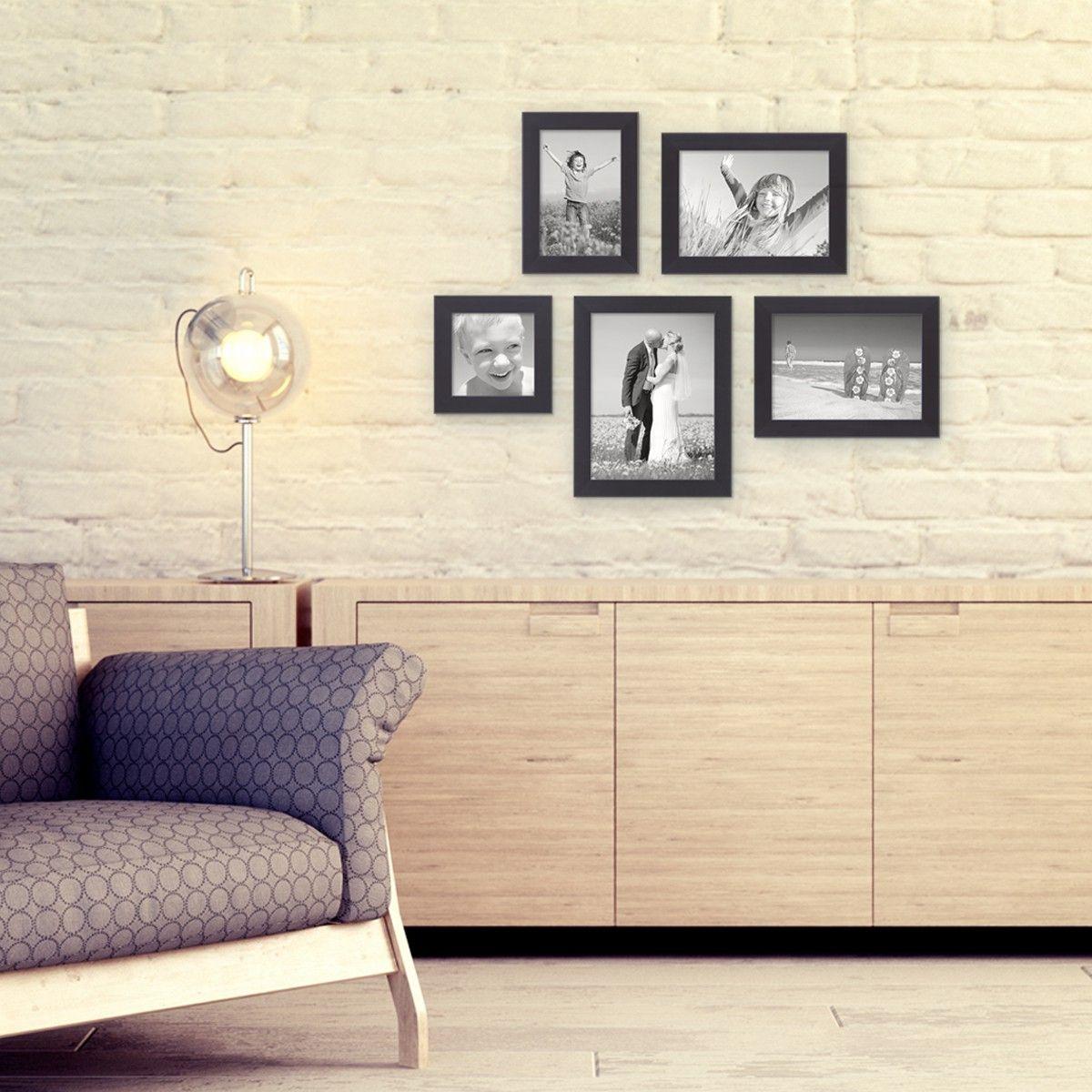 5er bilderrahmen set cm schwarz modern massivholz bilderw nde gestalten pinterest. Black Bedroom Furniture Sets. Home Design Ideas