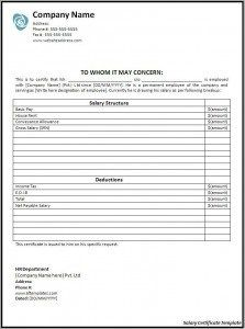 Leave Request Form Sample 19 Salary Certificate Formats  Word Excel & Pdf Templates  Www .
