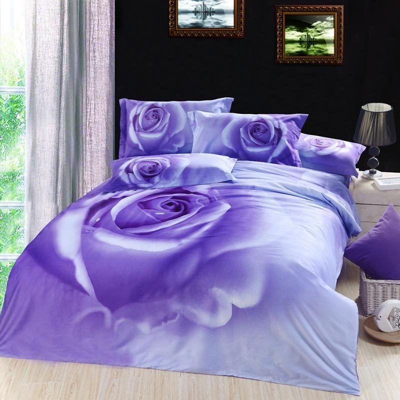 Wholesale Bedsheet Buy 3d Lilac Purple Rose Floral Flower Bedding Comforter Set King Queen Size Duvet Cover Flower Bedding Floral Print Bedding Purple Roses