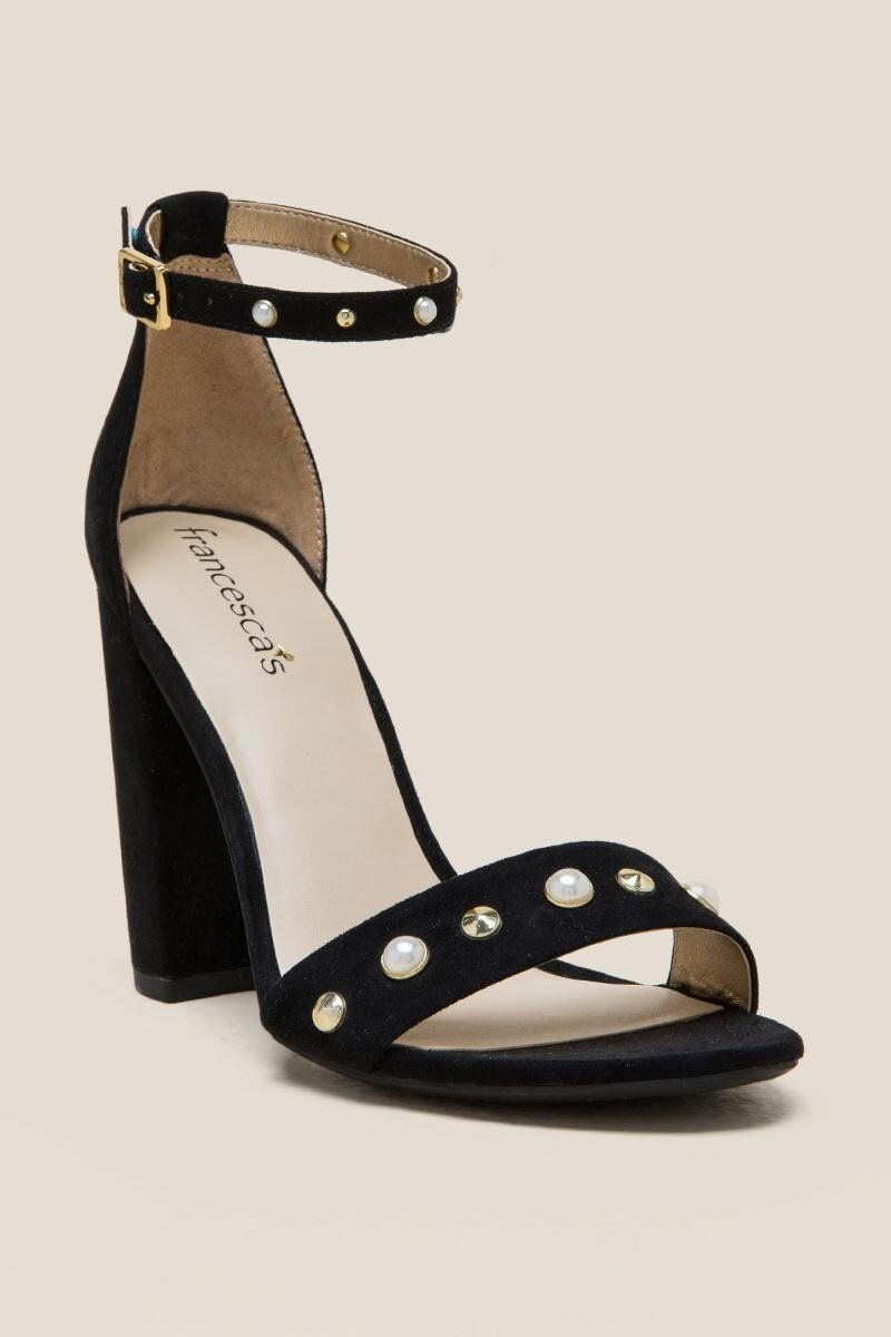 These Black Yvette Pearl Block Heels are the perfect date night shoe.