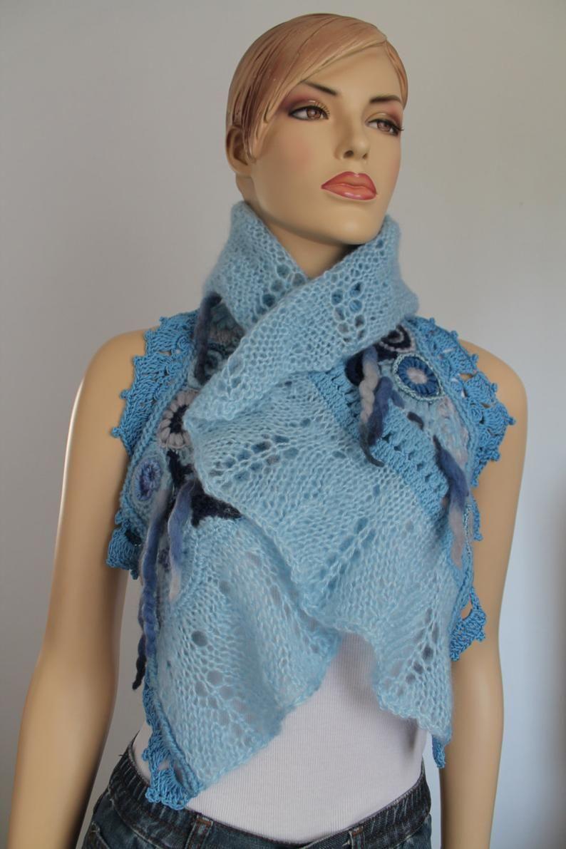 Blue Freeform Knit Crochet Capelet Wedding Shrug | Etsy in ...