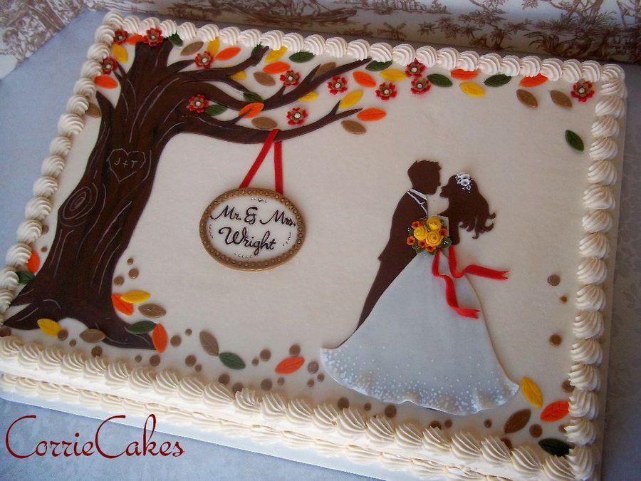 Fall wedding cakes fall wedding sheet cake by corrie