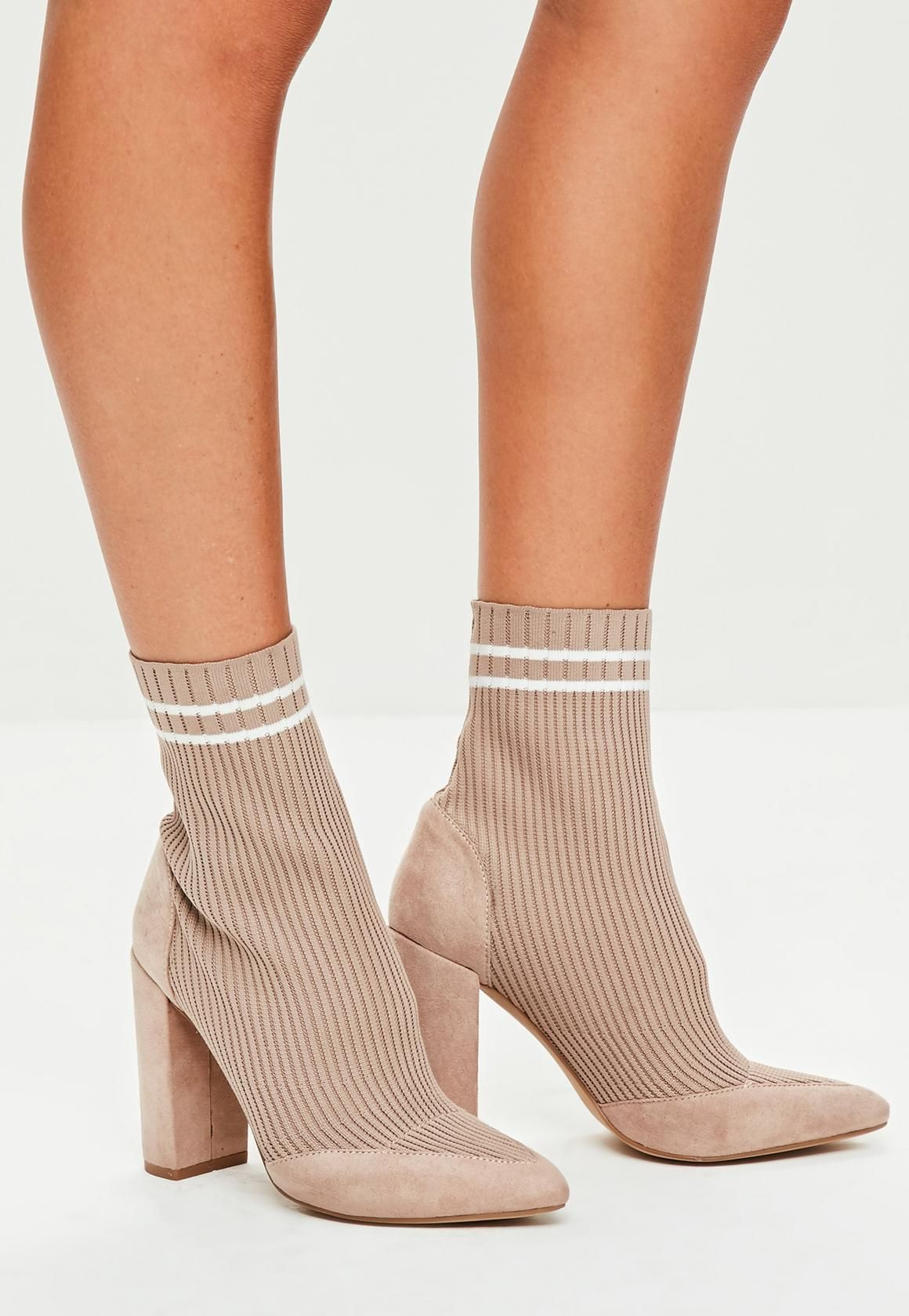 ae248e97a1b4 Missguided - Nude Knitted Stripe Pointed Ankle Boots