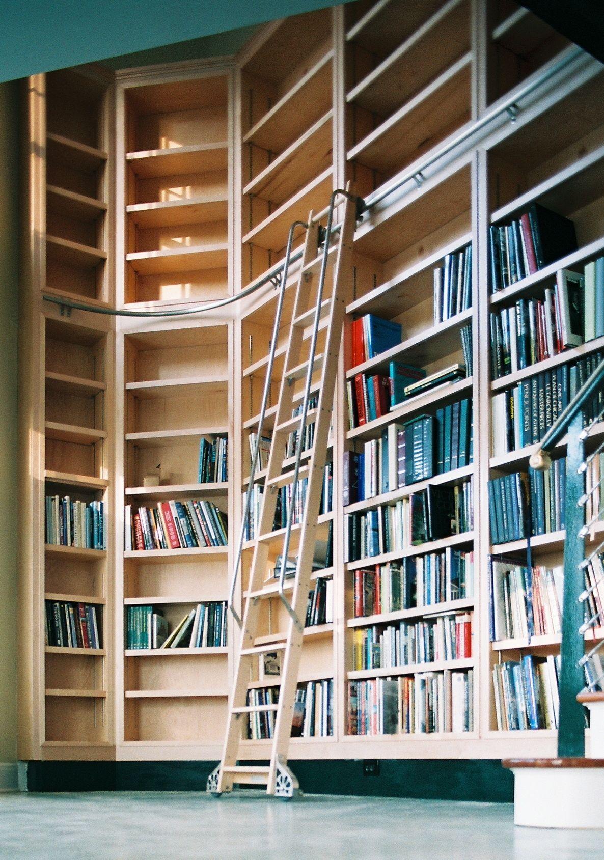 Library bookshelves with ladder google search βιβλιοθηκες
