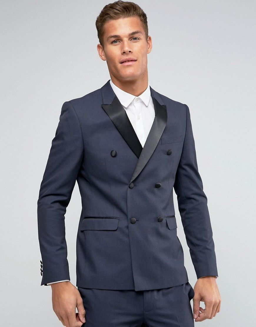 ASOS Skinny Suit Jacket Double Breasted with Tonal Design - Black
