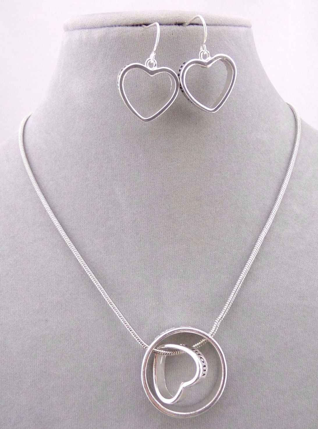 Heart And Ring Necklace Earrings Set Silver Mom Message Fashion Jewelry NEW