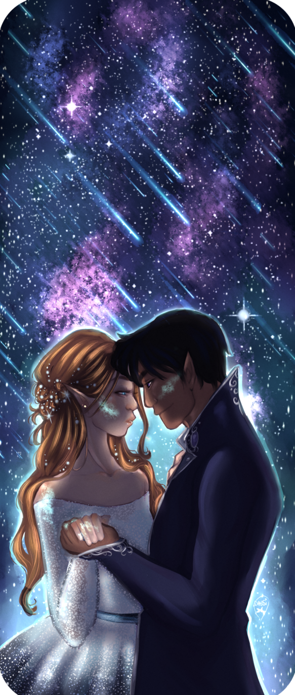 Star Full Colorful Deck Major Arcana Stock Illustration: Rhysand And Feyre On Starfall By Alexielapril. ACOMAF