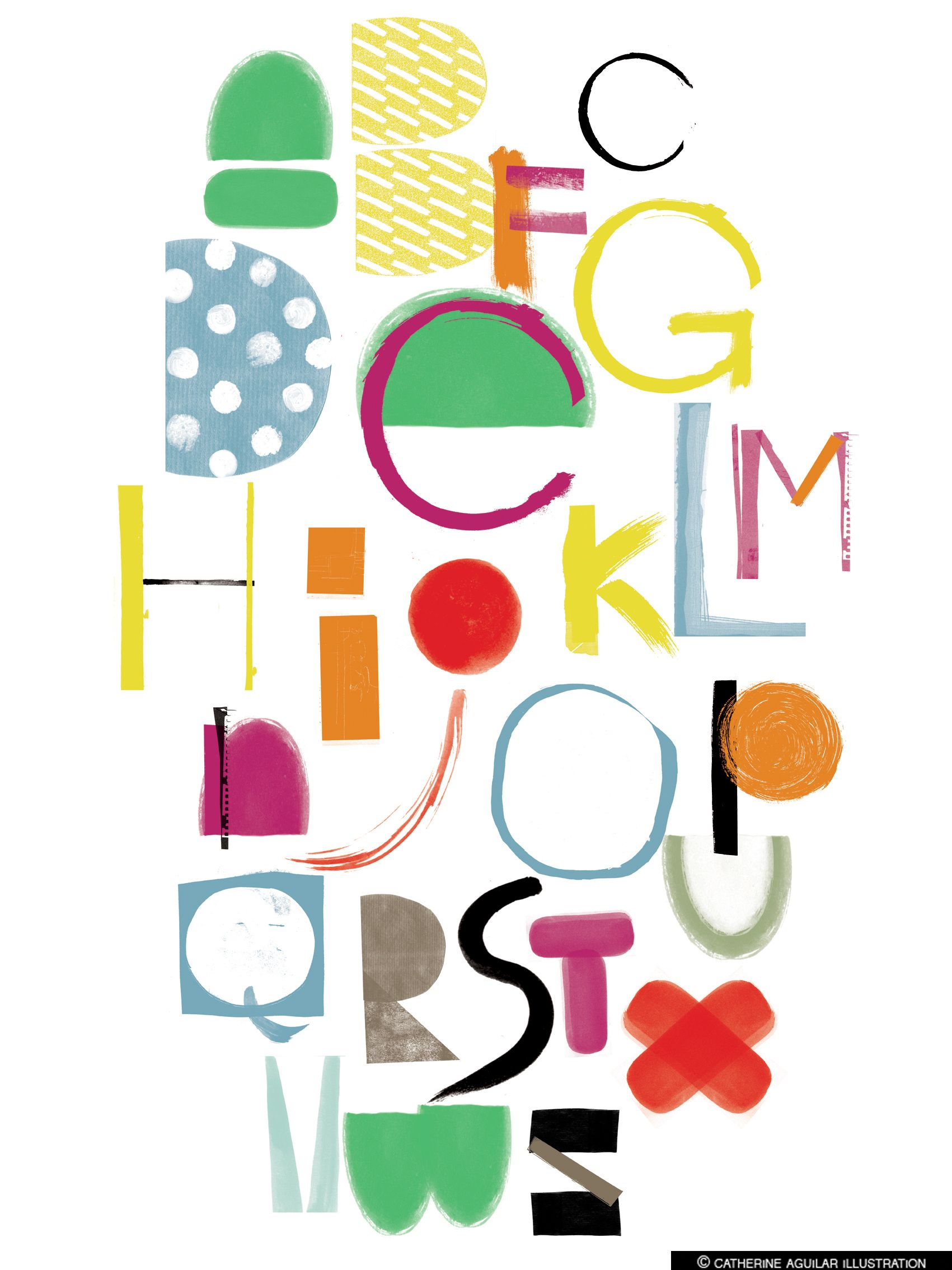 Alphabet Poster Print Painterly Letters Decorative Collage Childrens