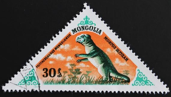 Mongolia Prehistoric Animals Postage Stamp Set // 1977 Used Vintage Post Stamps // Triangular Stamps // Mongolian // Dinosaurs // Ephemera #prehistoricanimals