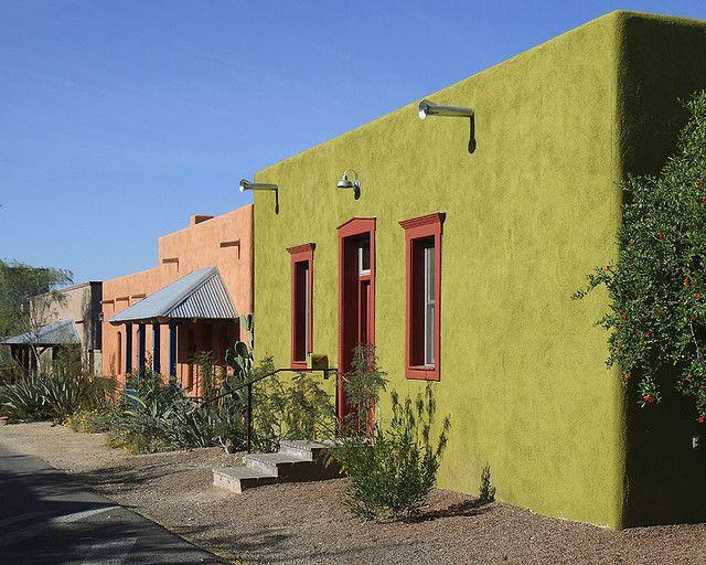 Colorful Street Of Adobe Houses Adobe House House Designs Exterior Exterior Design