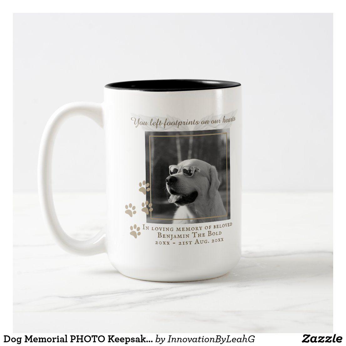 Dog memorial photo keepsake gift add text coffee mug