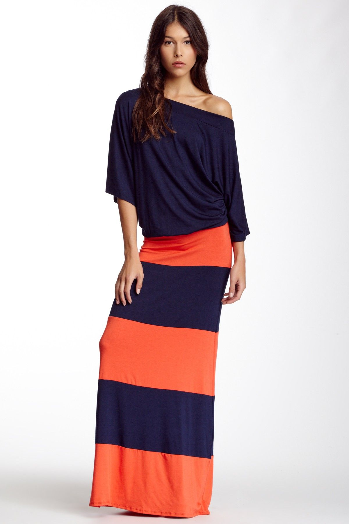 Go Couture Off The Shoulder Striped Maxi Dress By On Hautelook