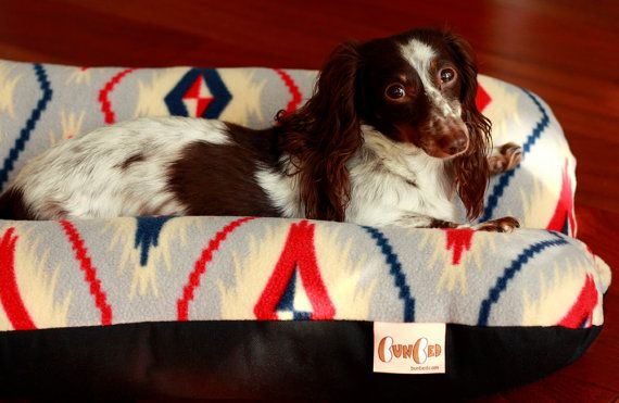 Dog Bed, Southwestern Geometric Gray Red Blue Plush Fleece