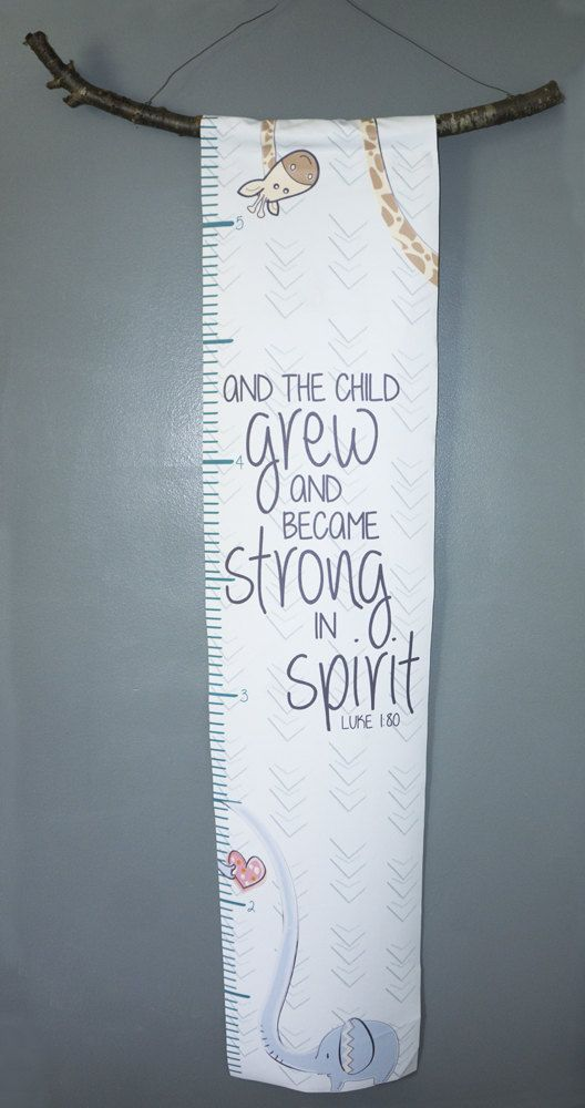Canvas Elephant And Giraffe Growth Chart With Bible Verse And The