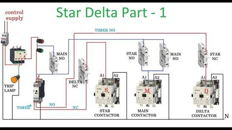 Star Delta Wiring Diagram Control Ford Tractor Starter Solenoid Motor With Circuit In Hindi Inside