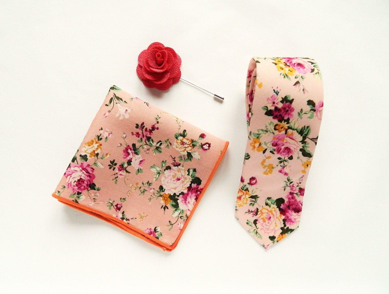 weddings// Groomsmen Gifts Mens Pink Floral Tie UK Floral Pocket Square