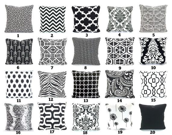 Black White Throw Pillow Covers Cushion Covers Couch Pillows