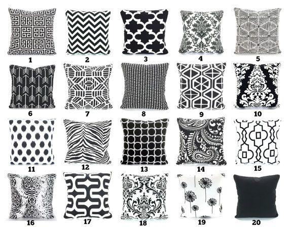 Black White Throw Pillow Covers Cushion Covers Couch Pillows Decorative Pillow Dandelion Bed Euro Sham Toss Pillow Various Sizes White Throw Pillow Covers White Throw Pillows White Decorative Pillows