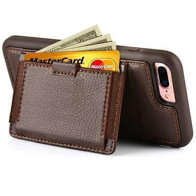 IPhone-7-Plus-Funda-Cartera-de-Cuero-con-soporte-para-tarjeta-de-credito-a-prueba-de-choques-Marron