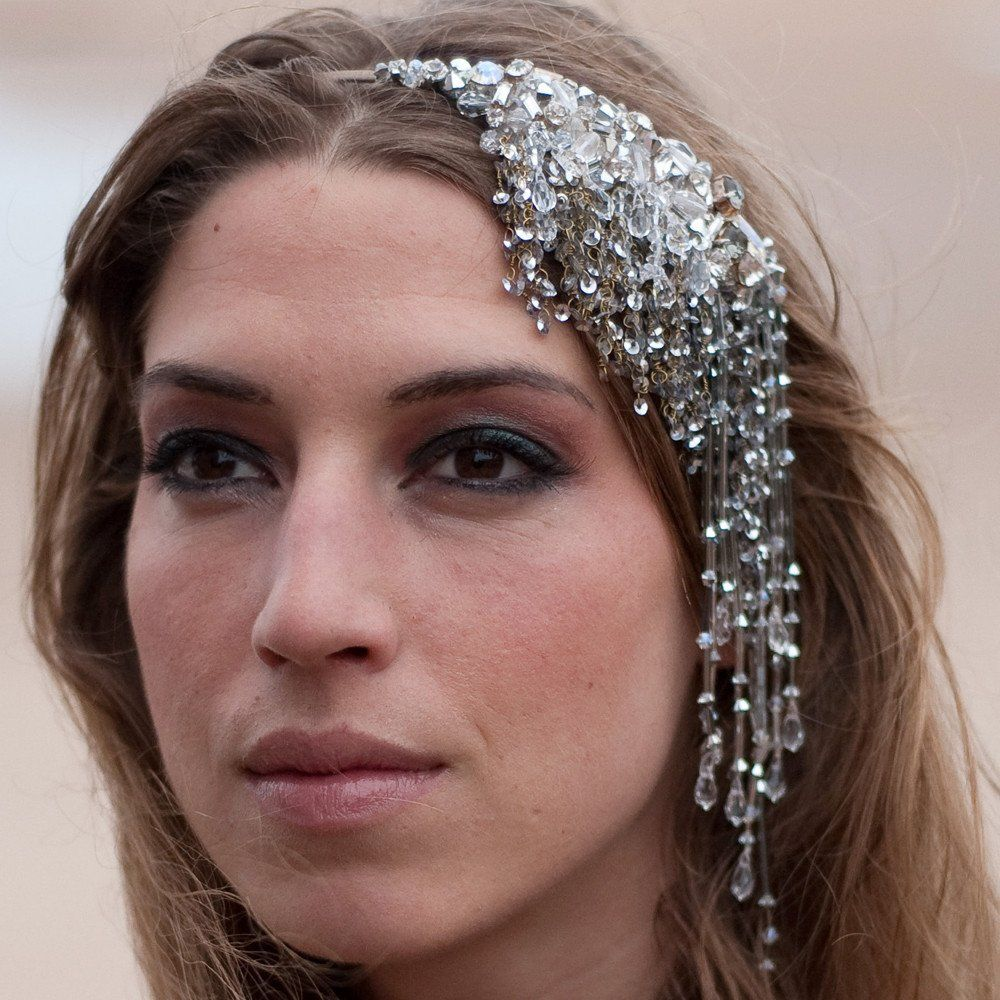 Quirky Wedding Hairstyle: An Unusual 1920's Vintage Style Side Tiara Dripping With