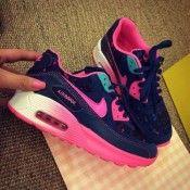 Nike Air Max 90 Dunkel Königlichblau Pink Damen Schuhe