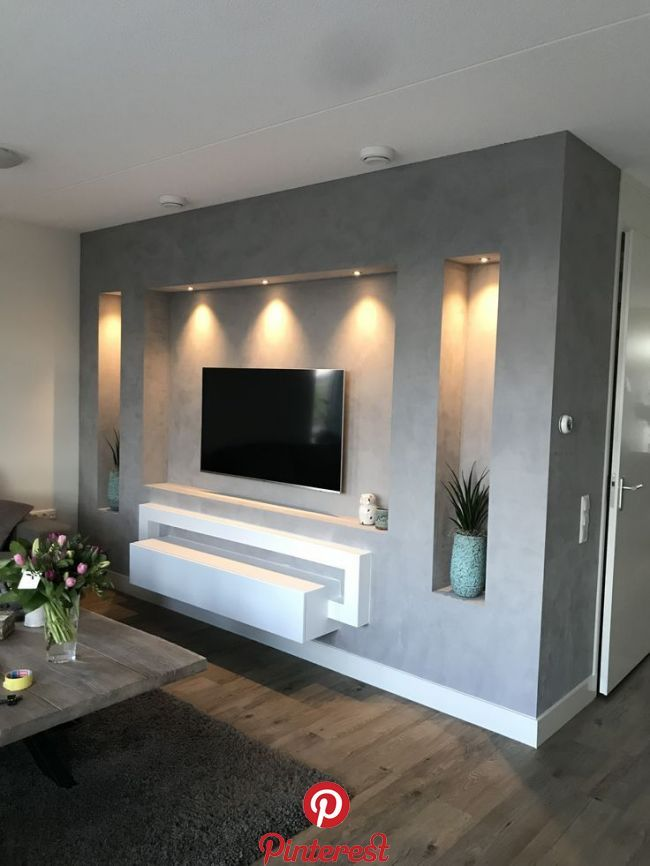 Betonlook Tv Wand Betonlook Tv Wand Tv Wall Design Tv Wall Decor Tv Room Design